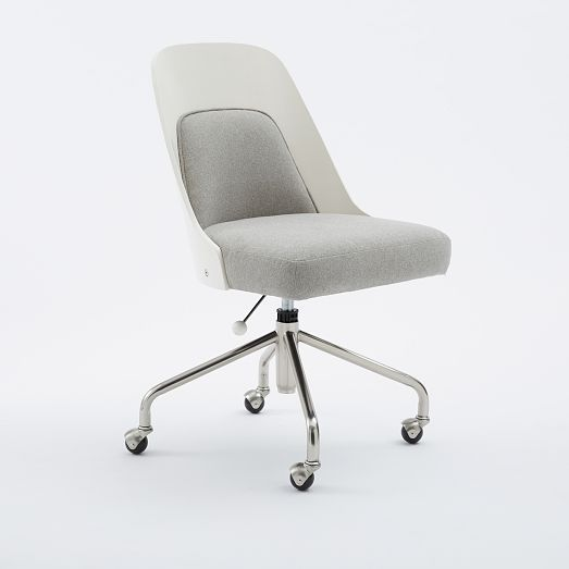 This stylish Bentwood Office Chair + Cushion combines a bentwood frame in white finish with an upholstered seat and back cushion. Set atop a swiveling metal base, it's a smart choice for a home office.