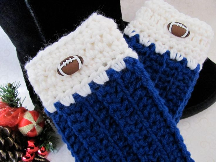 Blue and White Women/Teen Boot Cuffs Royal Blue and White Hand Crocheted Boot Toppers Leg Warmers with cute Football Buttons - Boot Toppers by HiddenLakeHomespuns on Etsy