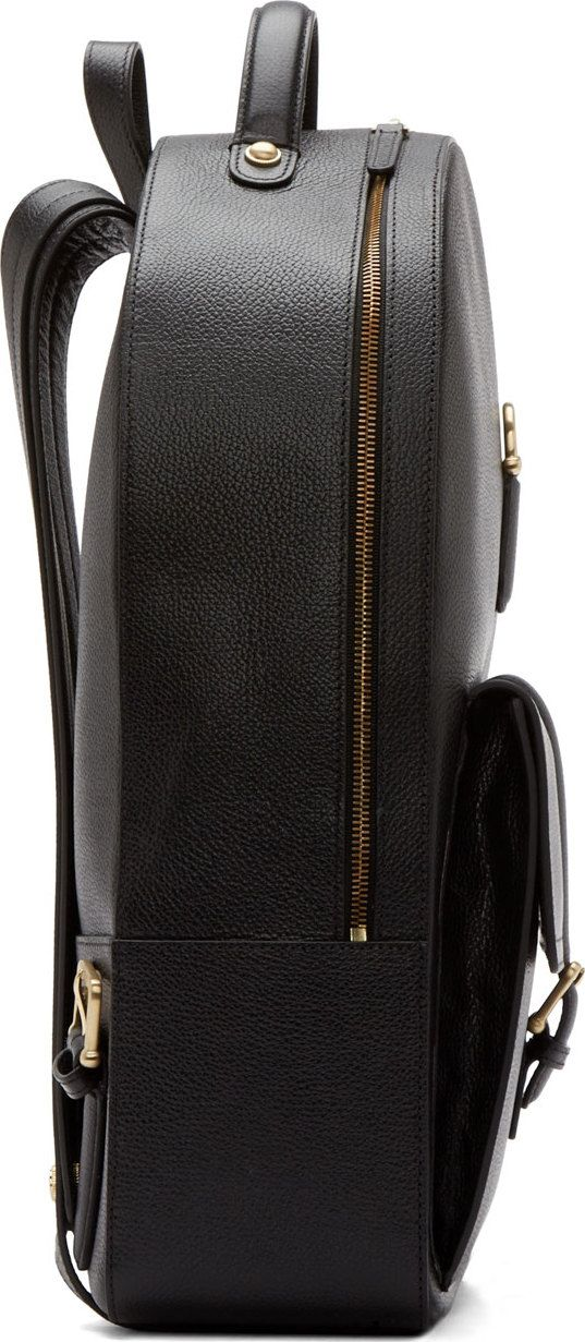 front edge detail _Thom Browne Black Grained Leather Backpack