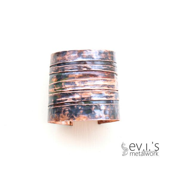 Copper Folded Hand Textured Black Bracelet Cuff by evismetalwork, €28.00