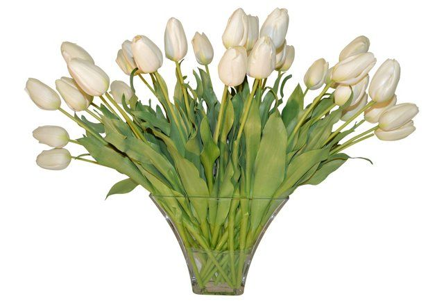 "30"" Tulips in Cube Vase, Faux"