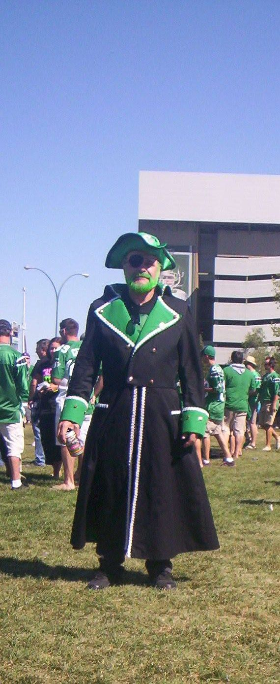 "This is my husband in his pirate outfit..He is Captain Harvey the ""Last Saskatchewan Pirate""He wears it for the Saskatchewan RoughRiders football games..I made the outfit ."