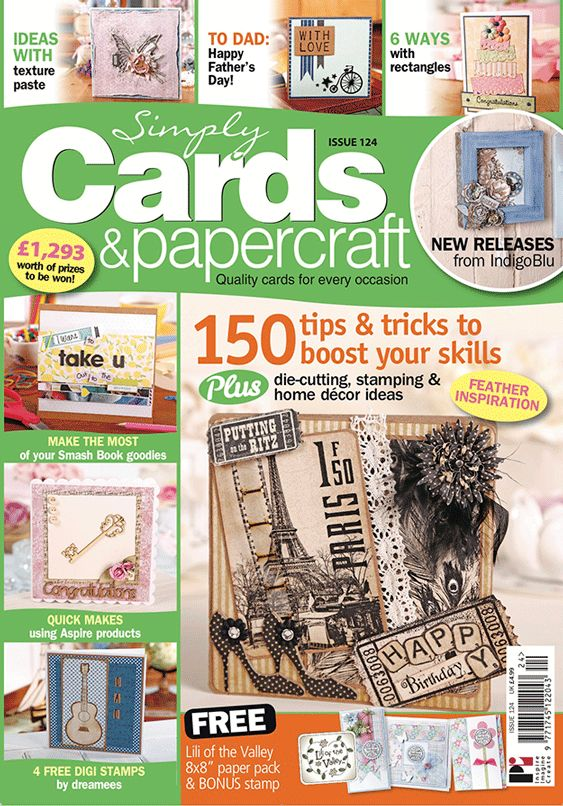 "Simply Cards & Papercraft 124 with free 8x8"" LOTV patterned paper stack & bonus stamp"
