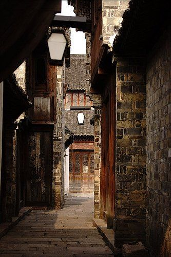 A narrow laneway in ancient Chinese Black Town, Zhejiang Province, via TW by All Things Chinese 