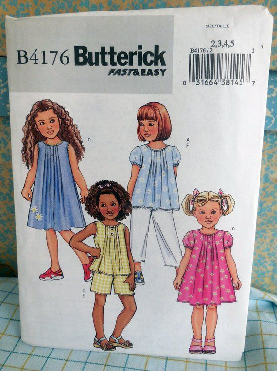 Butterick Sewing Pattern 4176 Childrens Top Dress Shorts /& Trousers