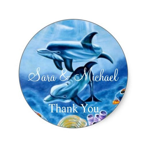 Tropical wedding dolphins thank you label
