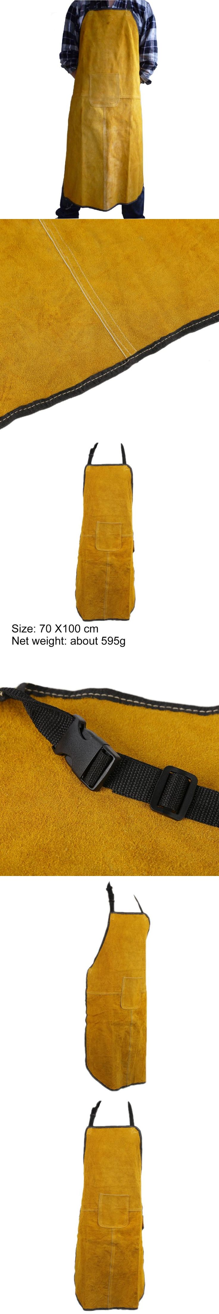 70x100cm Special Protection Workwear Fire-Retardant Argon-arc Cow Leather Welding Apron Work Protective Clothing Dustproof Apron