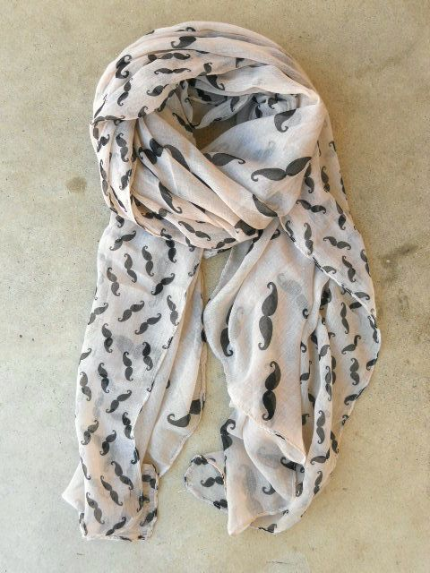 Cheeky Mustache Scarf [3496] - $16.00 : Vintage Inspired Clothing
