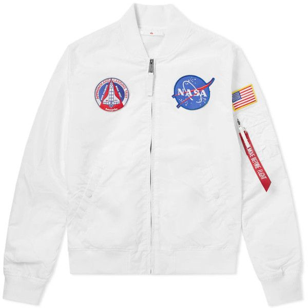 Alpha Industries MA-1 TT NASA Reversible II Jacket ($225) ❤ liked on Polyvore featuring outerwear, jackets, white jacket, reversible jackets, star jacket and double face jacket