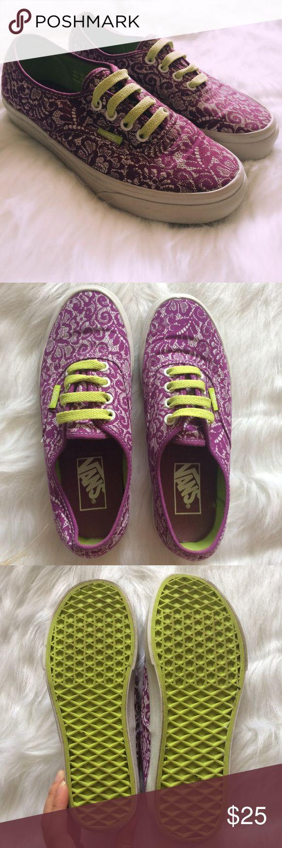 CUSTOM VANS Men's 4 Women's 5.5 Purple printed vans with green-yellow shoelaces. Men's size 4 Women's size 5. Preowned, good condition. Vans Shoes Sneakers