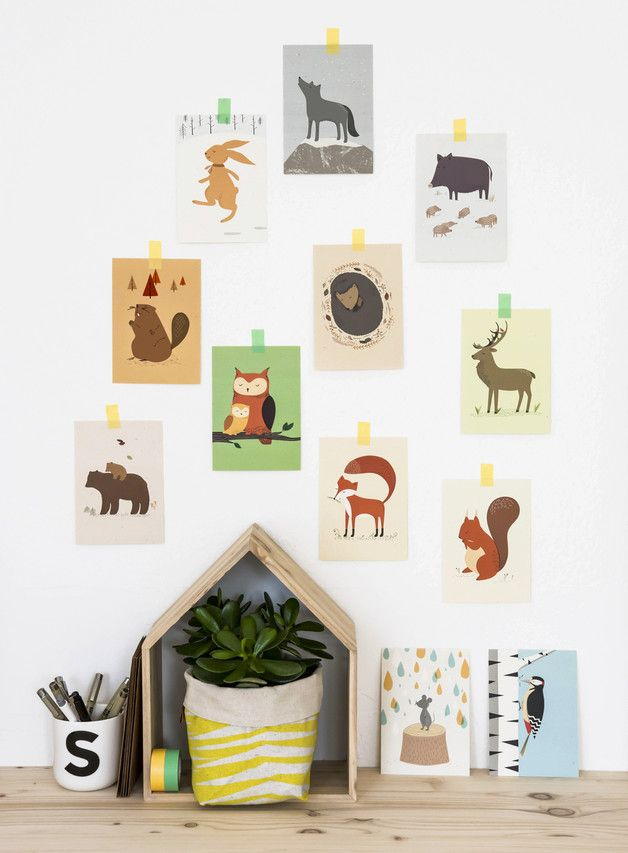 Kartenset mit Waldtieren fürs Kinderzimmer, Dekoration, Wandbild / cards with forrest animals, child's room decoration made by Vierundfünfzig Illustration via DaWanda.com