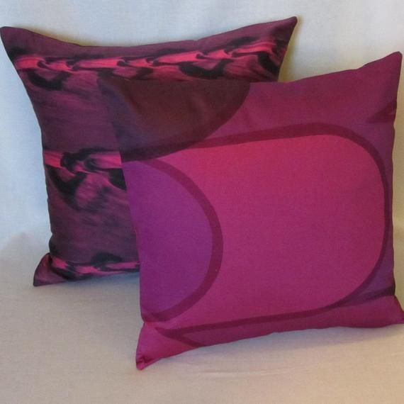 Purple pillow cover in vintage designer fabric fro…
