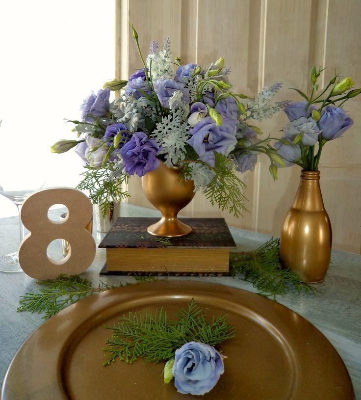 CBV244 Weddings Riviera Maya purple lilac and gold centerpieces / centro de mesa Dorado , lila y morado
