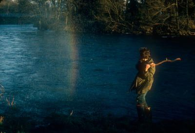 Andy Goldsworthy, Rainbow Splash, hit water with heavy stick, bright, sunny, windy, River Wharfe, Yorkshire, August 22 [23?] December 1980, Chibachrome
