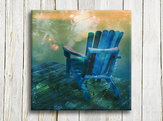 Blue chair wall art canvas 12/12 30/30 cm by OneDesign4U on Etsy, $39.00