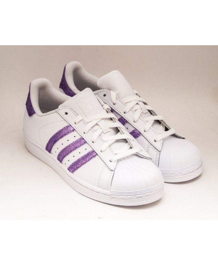 15d7d022daed Cheap Adidas Superstar Glitter White Purple Shoes