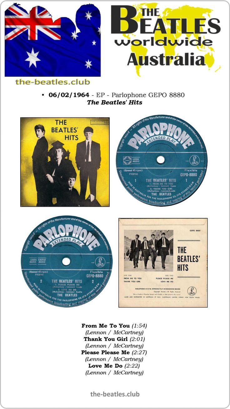The Beatles Australia EP Parlophone GEPO 8880 From Me To You Thank You Girl Please Please Me Love Me Do Lyrics Vinyl Record Discography