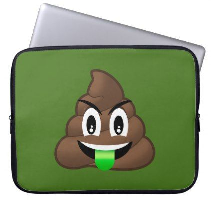 #Green Tongue Crazy Poop Emoji Laptop Sleeve - #giftideas for #kids #babies #children #gifts #giftidea