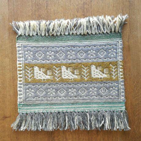 ヤノフ村の織物 タペストリー 鳥と幾何学模様 #931
