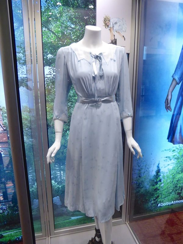 Emma's (Ella Purnell) blue dress designed by Colleen Atwood from Miss Peregrine's Home for Peculiar Children. On display at ArcLight Sherman Oaks. From Hollywood Movie Costumes and Props.