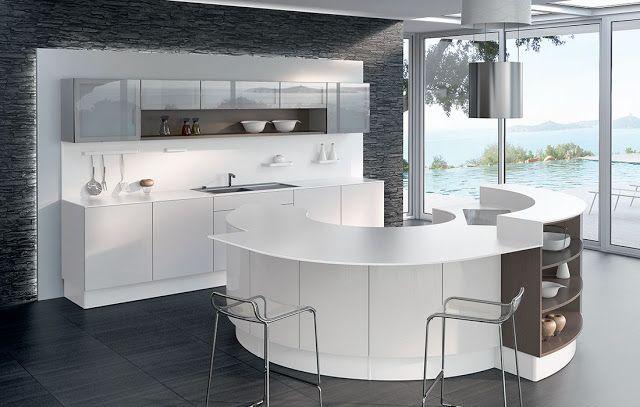 Dans les cuisines s contemporaines le blanc va avec tout pour cette cuisin - Meuble cuisine arrondi ...