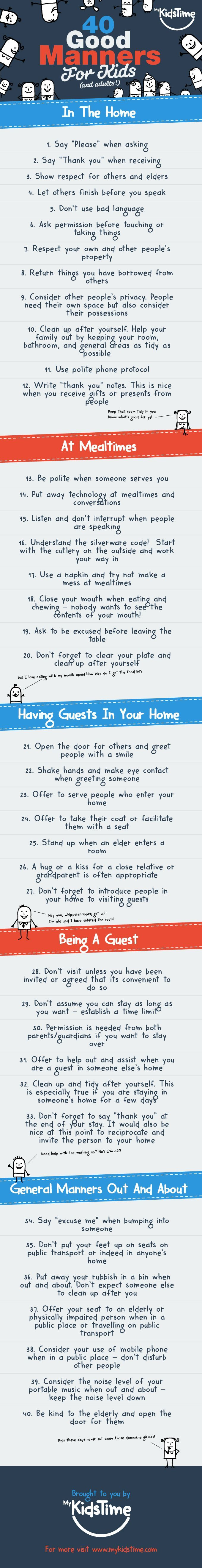 40 good manners for kids (and adults!)