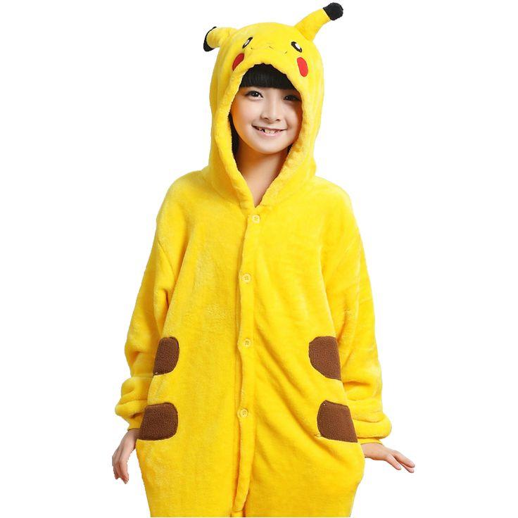 http://rubies.work/0176-ruby-rings/ Kawaii Kids Pikachu Cosplay Costumes Children Girl Boys Pokemon Go Onesie All In One Warm Sleepwear