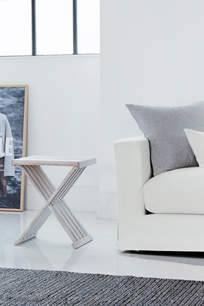 clean contemporary palette of white, pale grey and blonde wood - French Connection