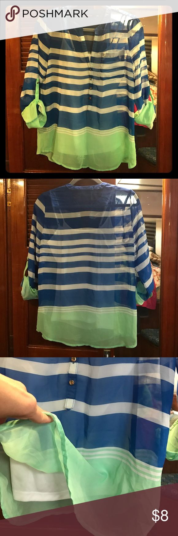 APT9 Women's Top Striped 3/4 sleeve top with built-in camisole. Great condition, only worn a few times. No stains, rips or tears. Has gold buttons down the front & on shoulders for a faux lapel look. Very trendy and nautical looking. Apt. 9 Tops Blouses