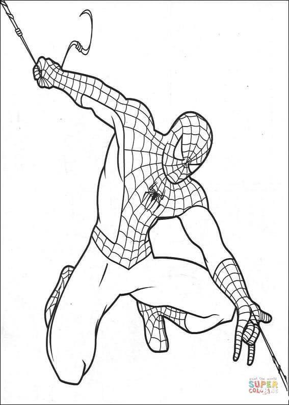 Dibujo De El Hombre Araña Trasladándose Para Colorear Dibujos Para