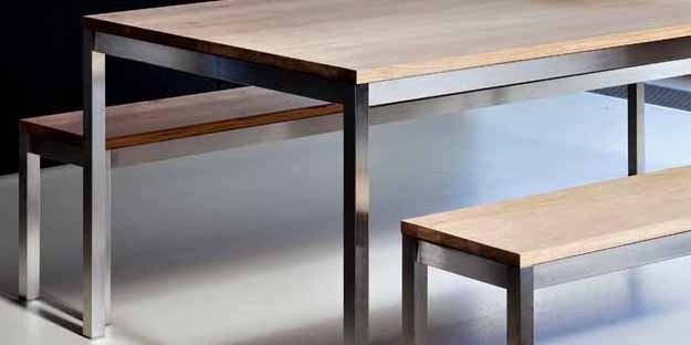 Oak Basic SS Dining Table Bench