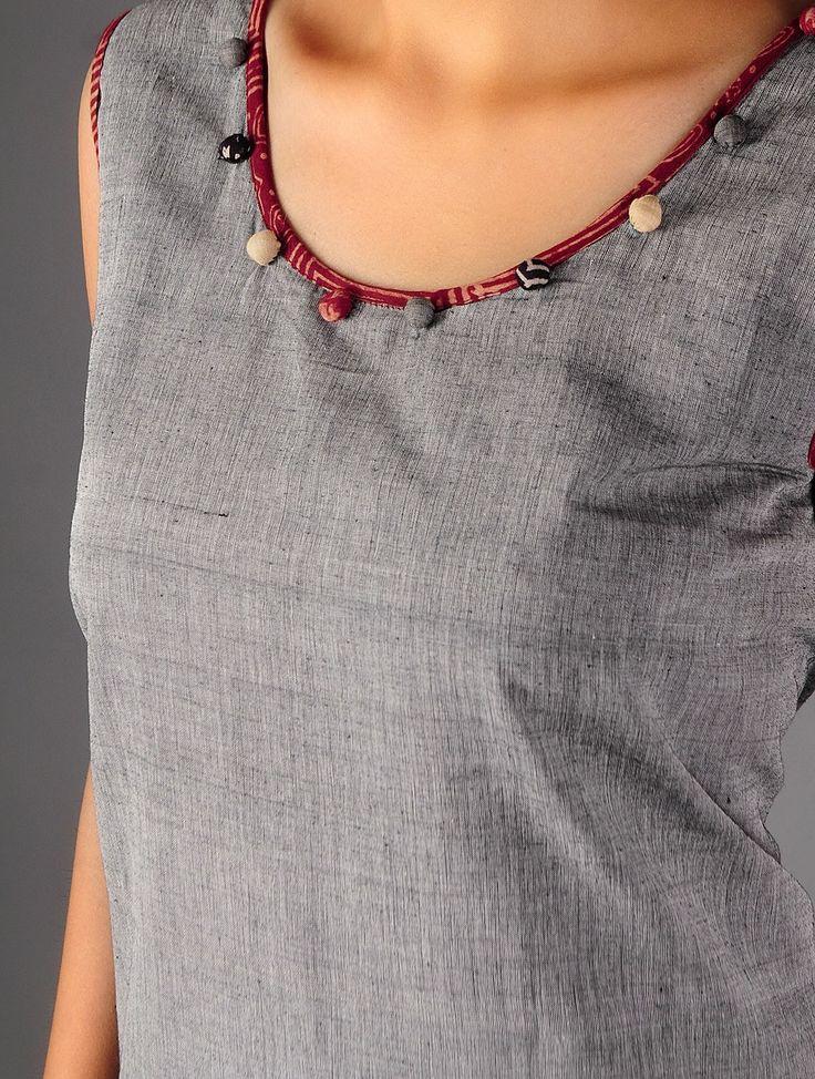 Grey - Black Ajrakh Detailed Cotton Layered Dress By Jaypore - Buy Apparel > Tops & Dresses > Grey - Black Ajrakh Detailed Cotton Layered Dress By Jaypore Online at Jaypore.com