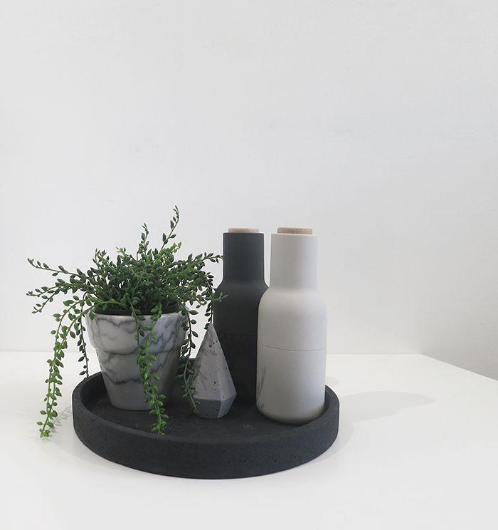 The Minimalist x Marble Basics small pot, black concrete tray with Menu bottle grinders + concrete diamond