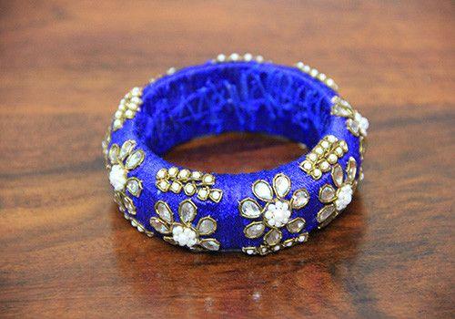 Thick Blue Zardozi Bangle – Desically Ethnic  #Desi #ethnic #Zardozi #fashion #bangle #jewellery #jewelsofindia #india #indian #desicallyethnic #accessories #shopnow #onlineshopping #kundan