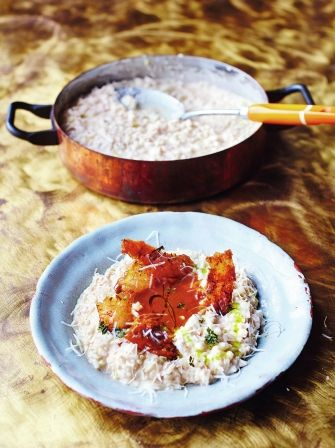 Turkey risotto with sweet leeks, prosecco and Parmesan