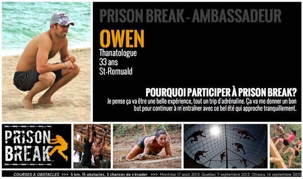 Owen, ambassadeur de la course Prison Break de QC, thanatologue et entraîneur au Energie Cardio.
