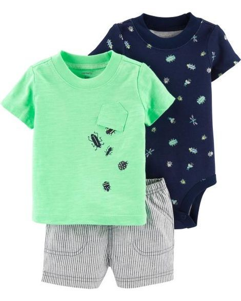 547c22e9f 3-Piece Bug Little Short Set | Products | Body suit with shorts ...