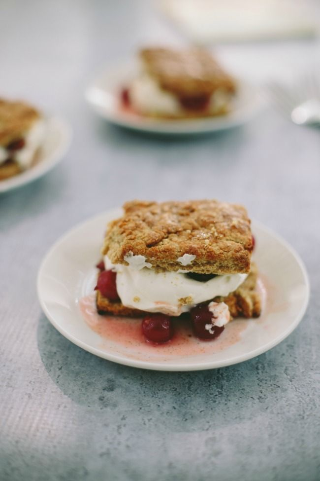 sour cherry shortcakes with olive oil biscuits