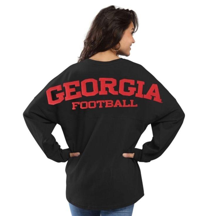 Georgia Bulldogs Women's Football Sweeper Long Sleeve T-Shirt - Black