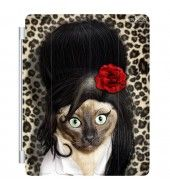 Tattoo Pets Rock Tattoo character iPad Cover, featuring the pets rock Tattoo character, Suitable for ipad 2nd, 3rd, 4th generation, ipad wakes/sleeps when you open and close the cover. The cover folds for use as a keyboard or viewing stand and connects to the ipad magnetically.