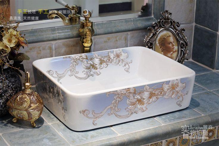 Banyo seramik sayaç üst lavabo Dikdörtgen lavabo avrupa'da popüler sanat havzası…