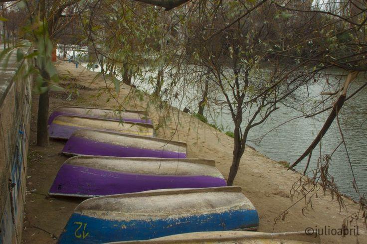 Barcas en el invierno del Rio Pisuerga en Valladolid