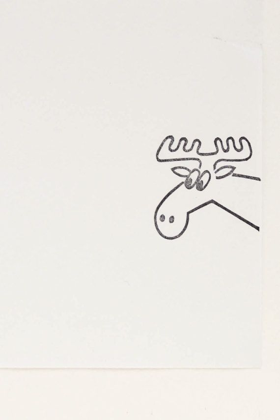 Moose Portrait Rubber Stamp
