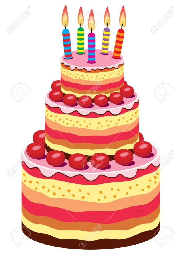 27 Great Picture Of Big Birthday Cakes Cake With Burning Candles And Fruits Royalty Free