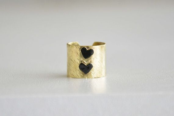 Adjustable brass ring Hammered brass tiny heart ring by zOOzART, $20.00