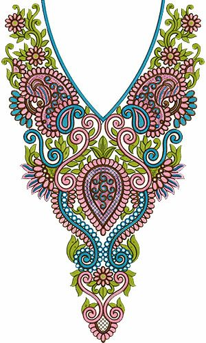 8498 Neck Embroidery Design