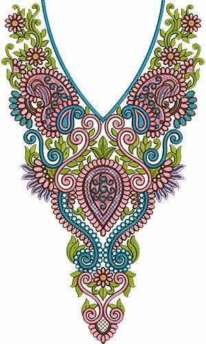 8498 Neck Embroidery Design
