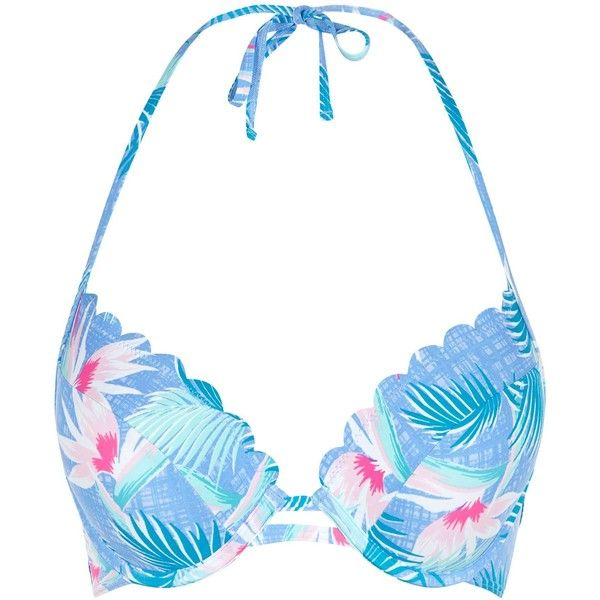 New Look Blue Tropical Print Extreme Push Up Bikini Set ($21) ❤ liked on Polyvore featuring swimwear, bikinis, blue pattern, push up bikini, scallop bikini, pushup swimwear, bikini two piece and push up swim wear