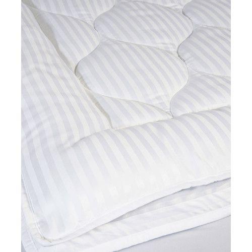 $58 for King, stain resistant 12 oz. fill Luxury Stripe Mattress Enhancer | Wayfair
