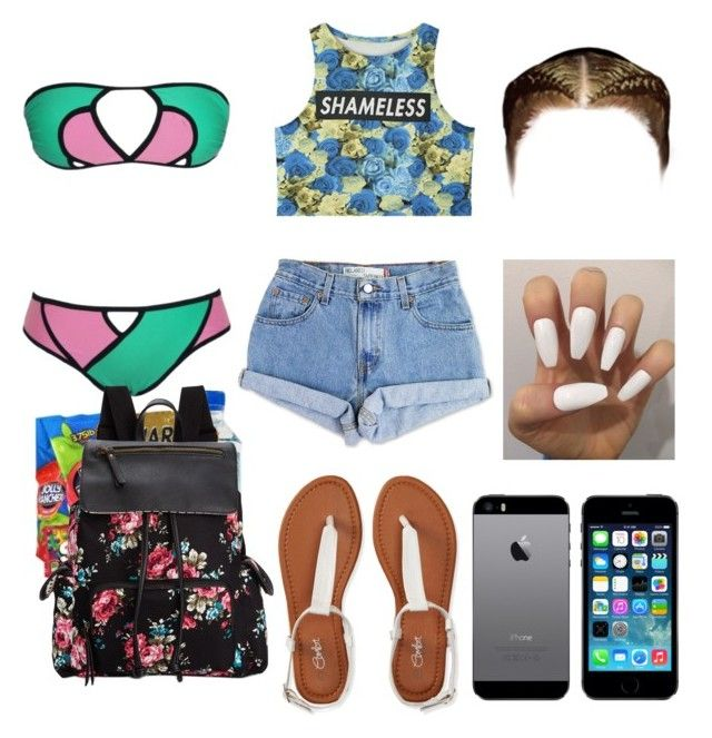 """""""Pool Party Outfit"""" by jasmine1164 ❤ liked on Polyvore featuring Levi's, Madden Girl, Aéropostale, women's clothing, women, female, woman, misses and juniors"""